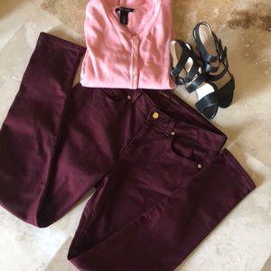 Michael Kors maroon skinny jeans